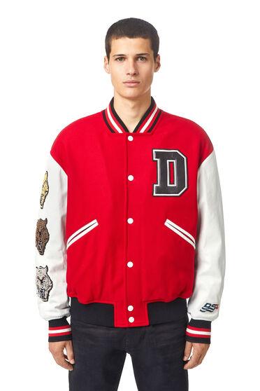 Varsity jacket in melton and leather