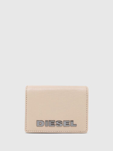 Tri-fold wallet in solid-colour leather