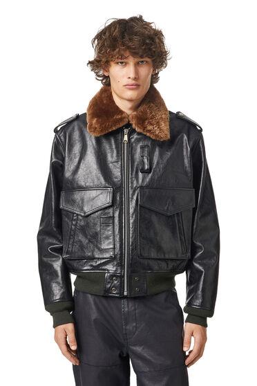 Leather jacket with light padding