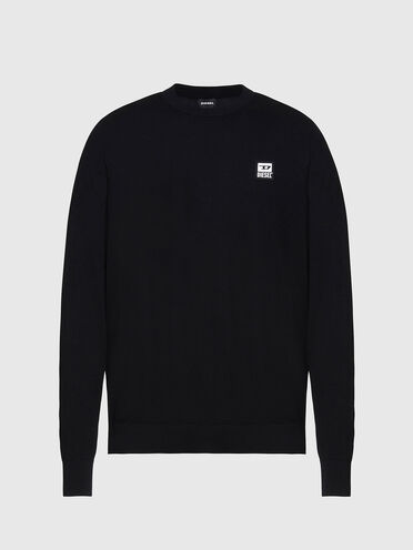 Cotton pullover with logo patch