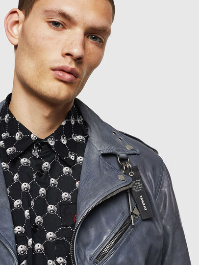 Diesel - L-KIOV, Blue - Leather jackets - Image 3