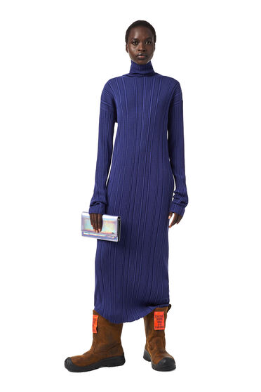 Ribbed dress in plated knit