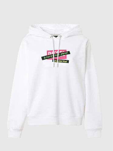 Hoodie with print and embroidered tape