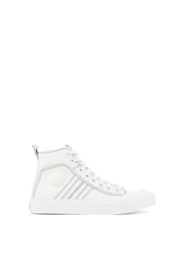 High top sneaker in bicolour cotton