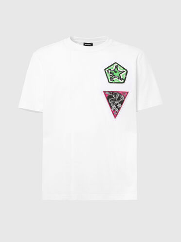 T-shirt with cobra print and patches