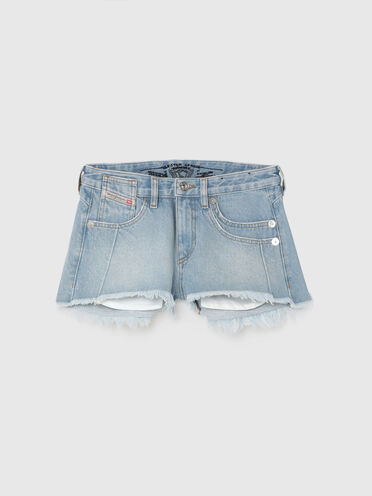 Frayed shorts in fix denim