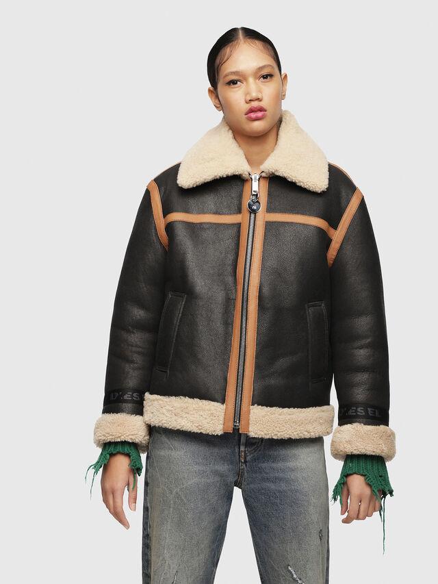 Diesel - L-FOLSON-FL, Black/Brown - Leather jackets - Image 1
