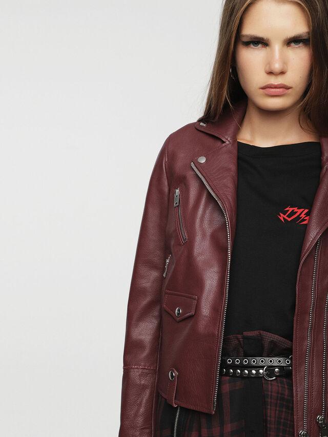 Diesel - L-AIMEE, Burgundy - Leather jackets - Image 5