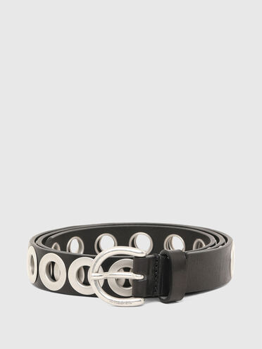 Leather belt with metal eyelets