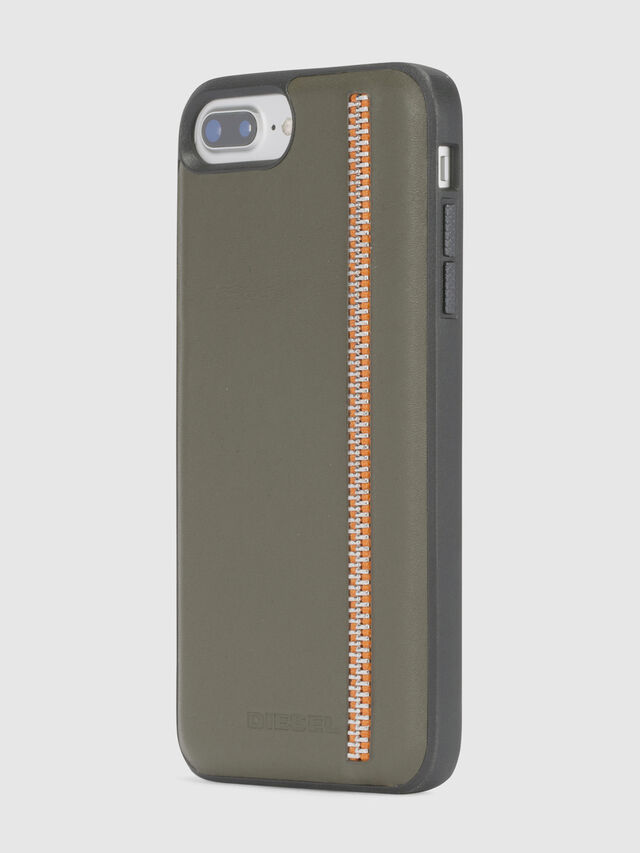 Diesel ZIP OLIVE LEATHER IPHONE 8 PLUS/7 PLUS/6s PLUS/6 PLUS CASE, Olive Green - Cases - Image 3