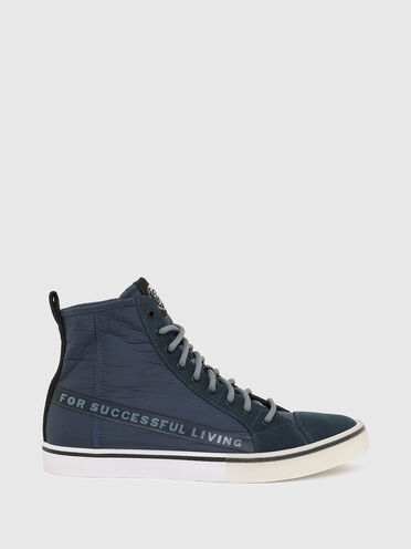 High-top sneakers in nylon and suede