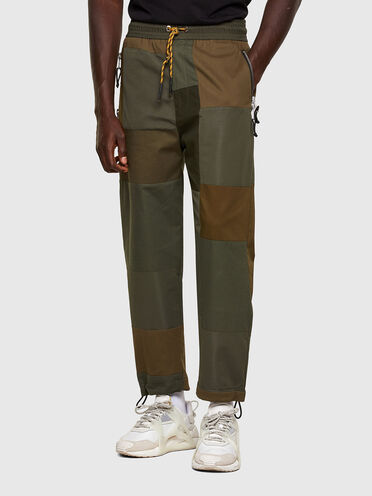 Patchwork pants in mixed materials