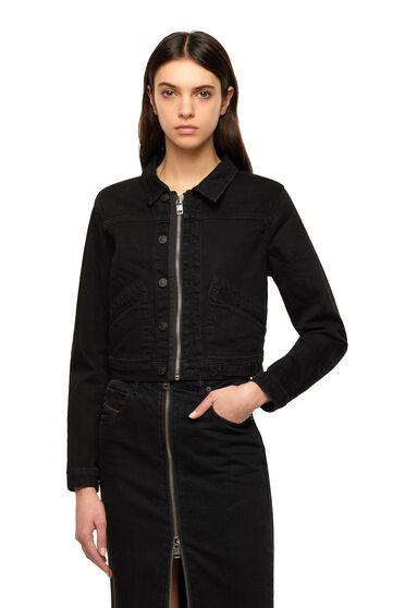 Cropped denim jacket with zip detail