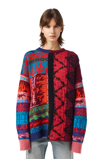Distressed jacquard-knit pullover