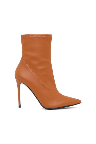 High-heel ankle boots in faux nappa