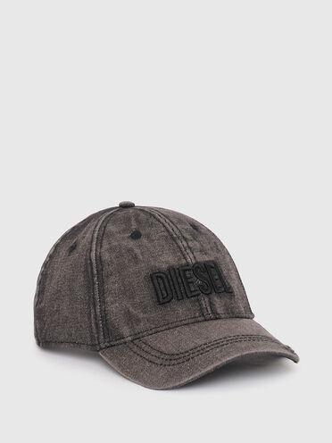 Denim baseball cap with destroyed peak
