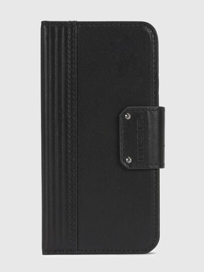 Diesel - BLACK LINED LEATHER IPHONE X FOLIO, Black - Flip covers - Image 2