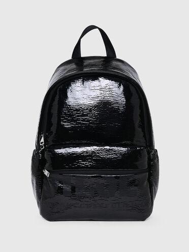 Metallic backpack with logo print