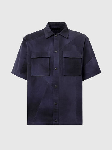 Canvas shirt with tie-dye