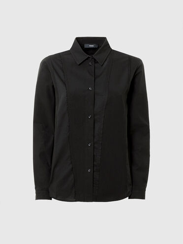 Panelled shirt in poplin and voile