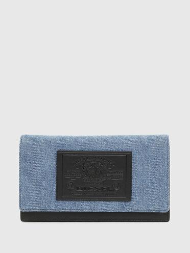Mini bag wallet in two-tone denim