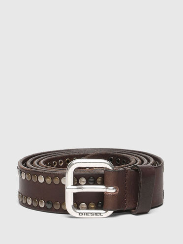 Studded belt in treated leather