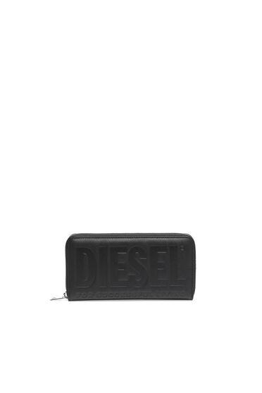 Zip-around wallet with Saffiano texture