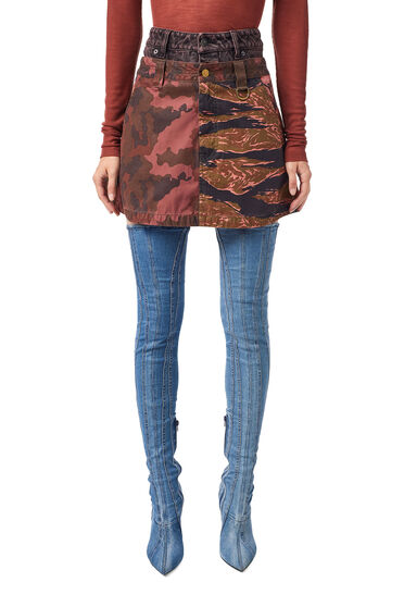 Overdyed camo-print skirt