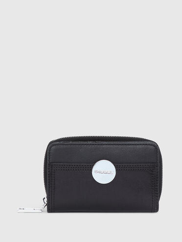 Rectangular wallet in two-tone leather