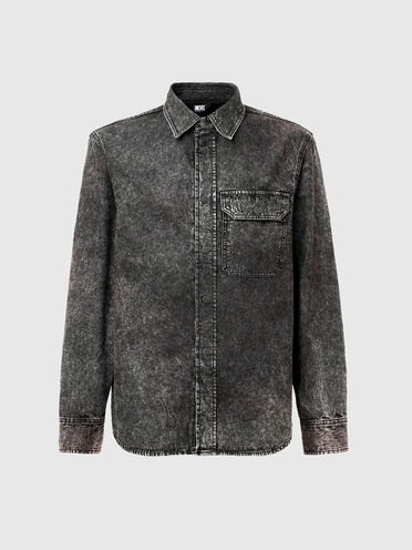 Denim shirt with marbled effect