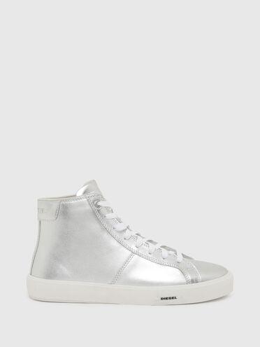 High-top sneakers in metallic leather