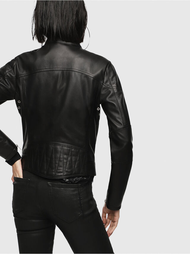 Diesel - L-SUZ, Black Leather - Leather jackets - Image 2