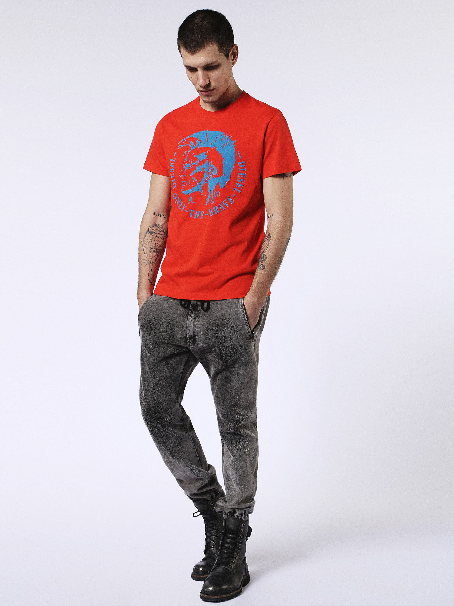 00SQXC0091B T-Shirts Man T-DIEGO-FO by Diesel Fiery Red