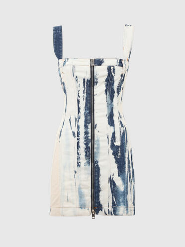 Denim dress with marble effect