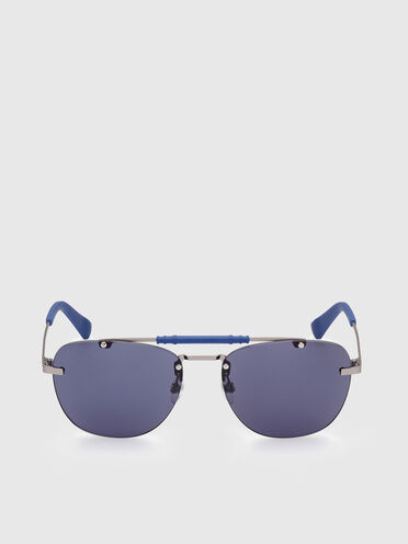 Sunglasses with a geometric navigator silhouette in metal