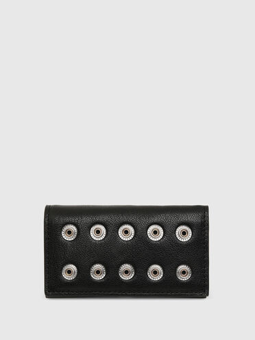 Tri-fold key case in studded leather