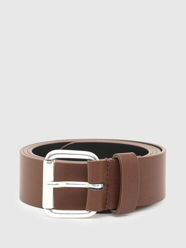 Faux-leather belt with debossed logo
