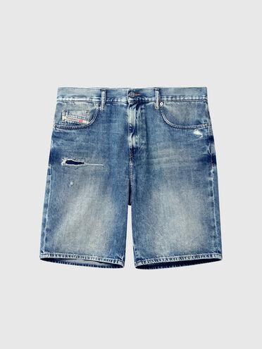 Slim shorts in treated denim