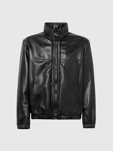 Jacket in smooth and perforated leather