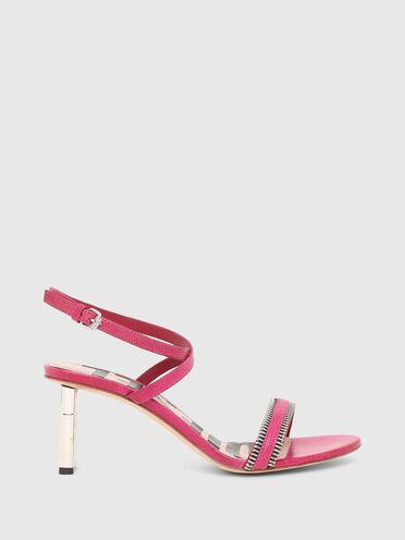 Mid-heel sandals in lizard-print leather