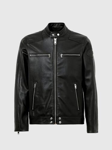 Biker jacket with tonal stripes
