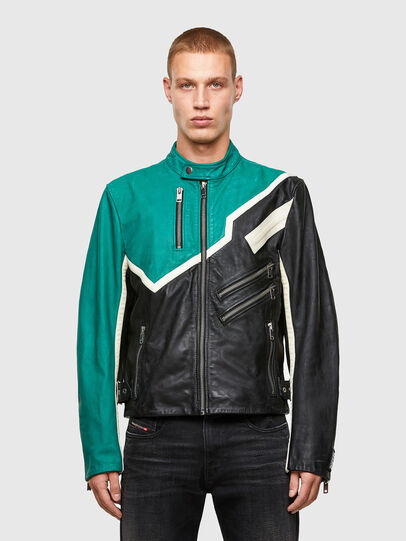 Diesel - L-PARKS, Black/Green - Leather jackets - Image 1