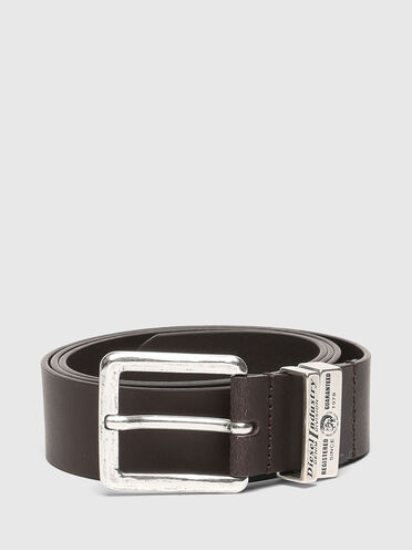 Leather belt with metal logo loops
