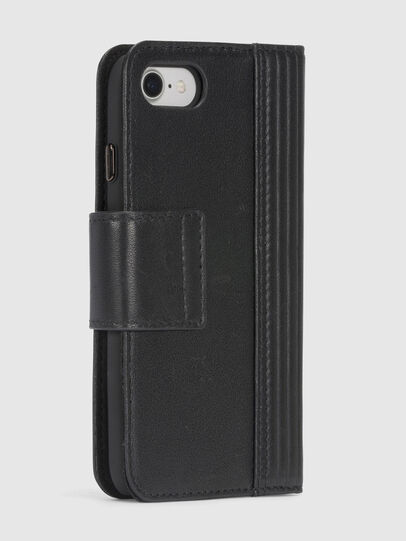 Diesel - BLACK LINED LEATHER IPHONE 8/7 FOLIO, Black - Flip covers - Image 6
