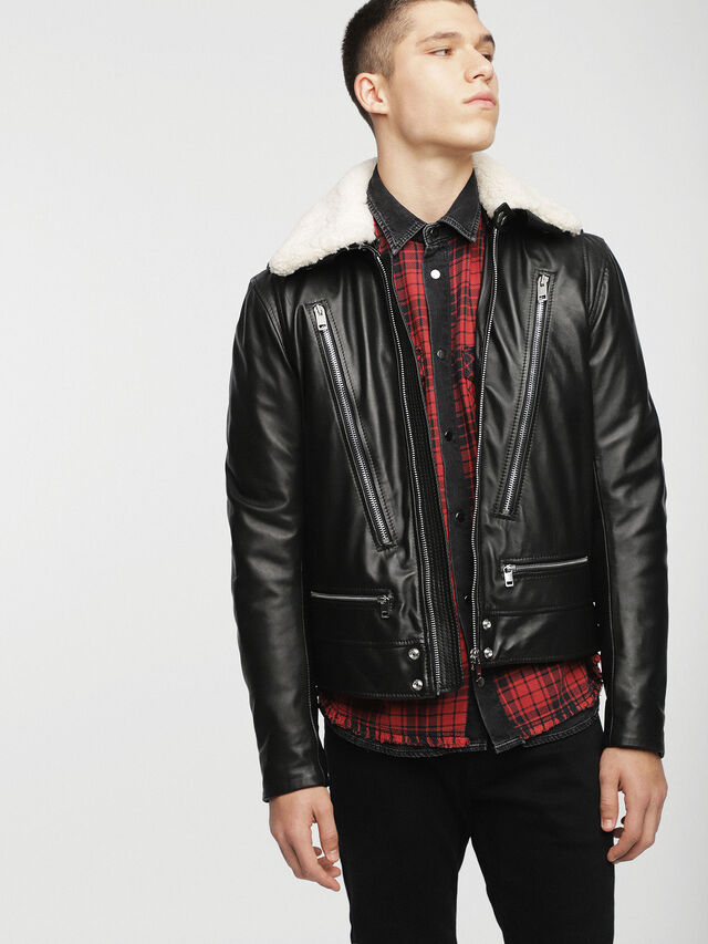 Diesel - L-NED, Black - Leather jackets - Image 1