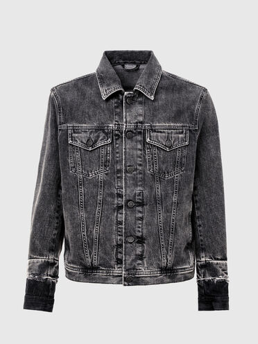 Trucker jacket is marble-wash denim