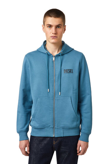 Green Label zip hoodie with logo print